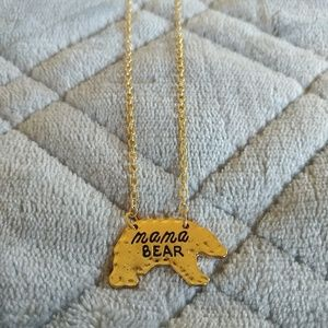 Jewelry - Mama Bear Goldtone 20 Inch Necklace NWOT Mothers